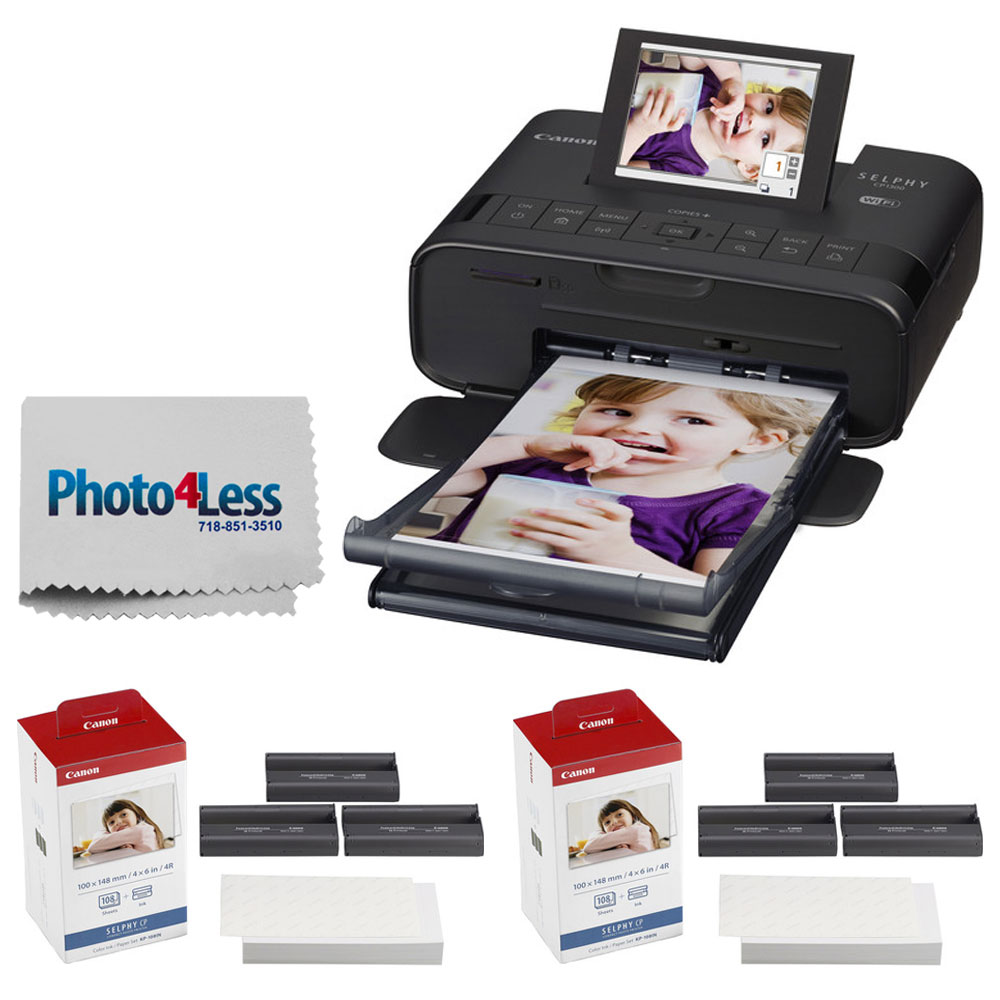 Canon SELPHY CP1300 Compact Photo Printer (Black) + 2x Canon KP-108IN Color Ink and Paper Set + Photo4Less Cleaning Cloth - Deluxe Value Printing Bundle