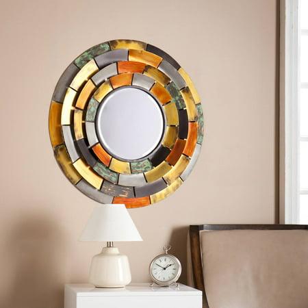 Southern Enterprises Mosaic Style Decorative Round Mirror, Metallic - Two Tone Mosaic