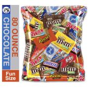 (80 Ounce) Variety Assortment Mix Bulk Pack Chocolate M&M's, Snickers, Milky Way, Twix, Reese's, York, 100 Grand, Almond Joy, Kitkat.