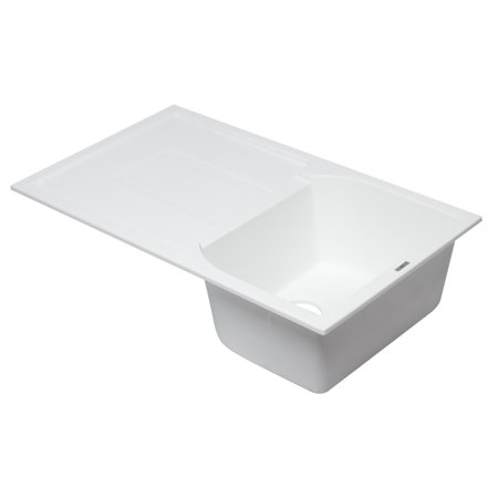 ALFI brand AB1620DI-W White Granite Composite Kitchen Sink with Drainboard - Granite Composite Bar Sink