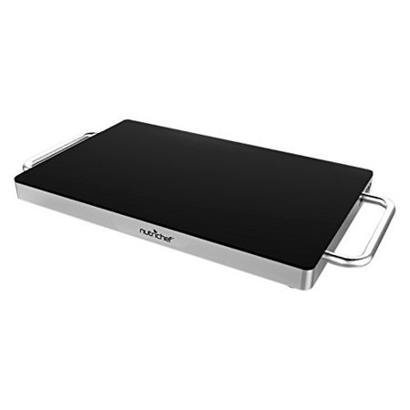 Stainless Steel Warming Hot Plate - Keep Food Warm w/ Portable Electric Food Tray Dish Warmer w/ Black Glass Top, For Restaurant, Parties, Buffet Serving, Table or Countertop Use - NutriChef AZPKWTR15 (Party Warmers)