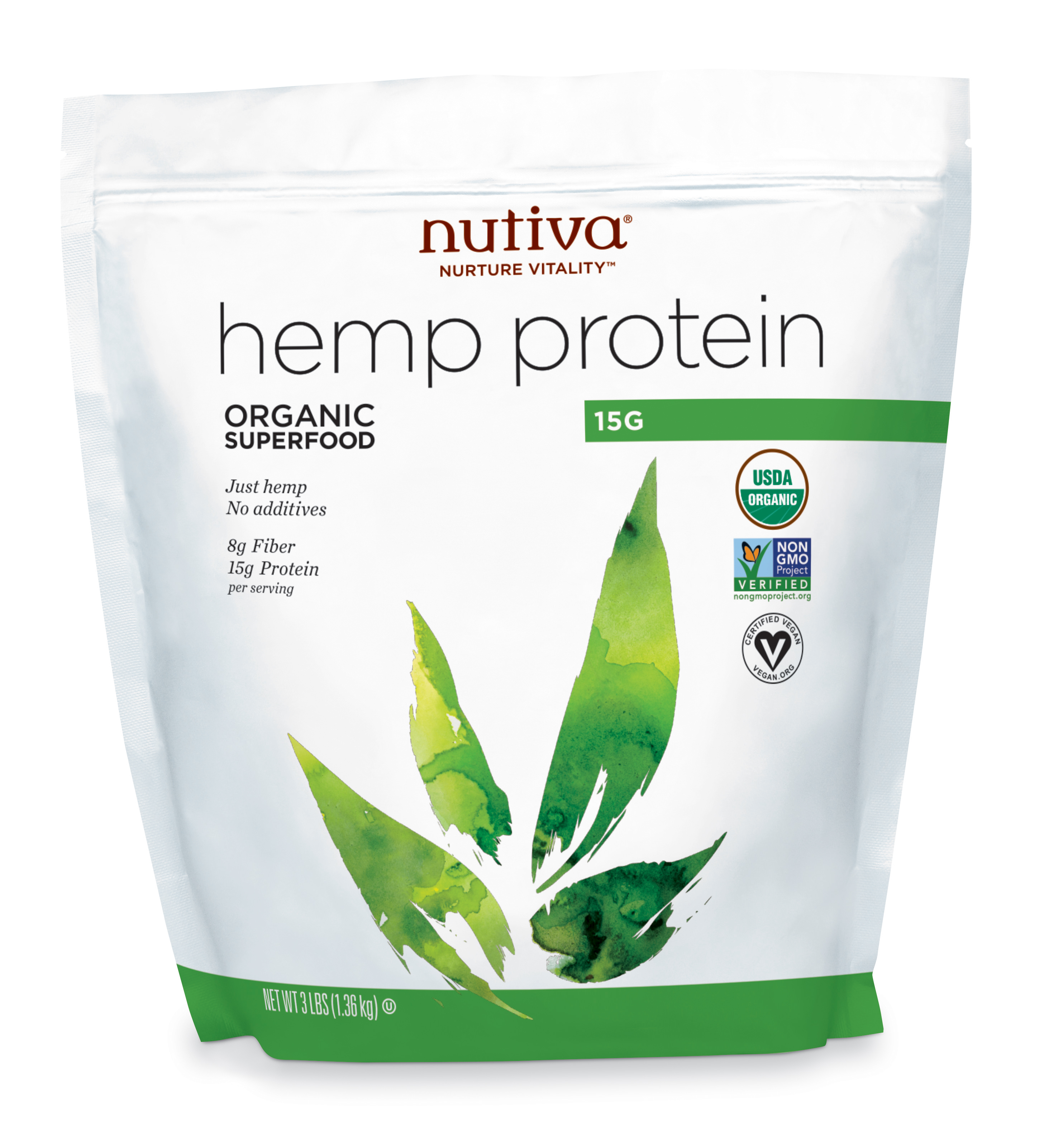 Nutiva Organic Hemp Protein Powder, 15G, 3.0 Lb, 45 Servings
