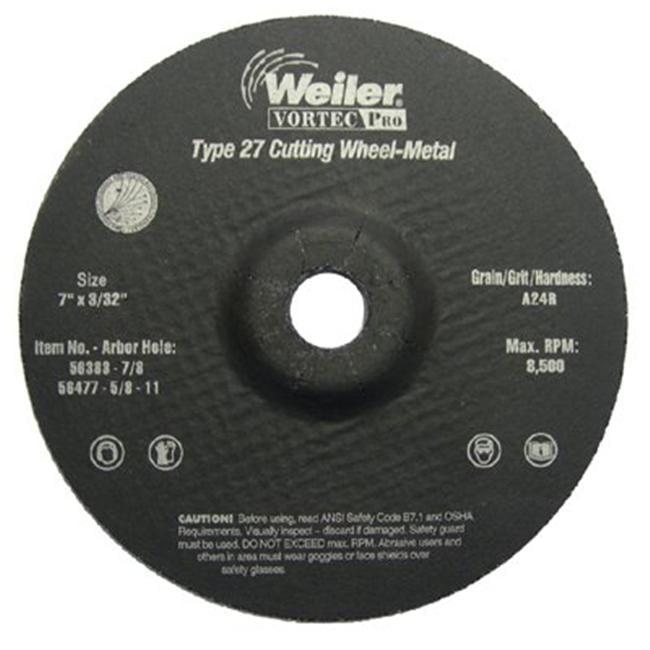 Weiler 804-56383 7 Inch X 3-32 Inch Type 27 Cutting Wheel A24R