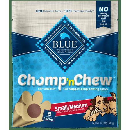 - Blue Buffalo Chomp n' Chew Long-lasting Dog Chew Small/Medium Dog Treats, 5 Count, 17.7-oz bag