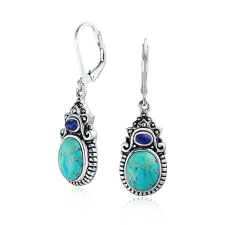 - Southwestern Style Multi Stones Stabilized Turquoise Oval Lapis Leverback Dangle Earrings For Women 925 Sterling Silver