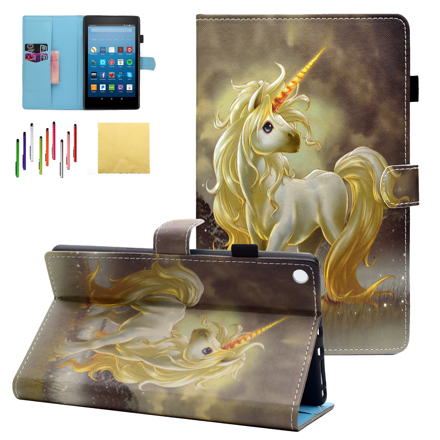 Fire HD 10-inch 2017/ 2015 Case, Goodest PU Leather Folio Folding Stand Cover with Auto Wake Sleep for All-New Amazon Kindle Fire HD 10 Tablet (5th/ 7th Generation), Horse