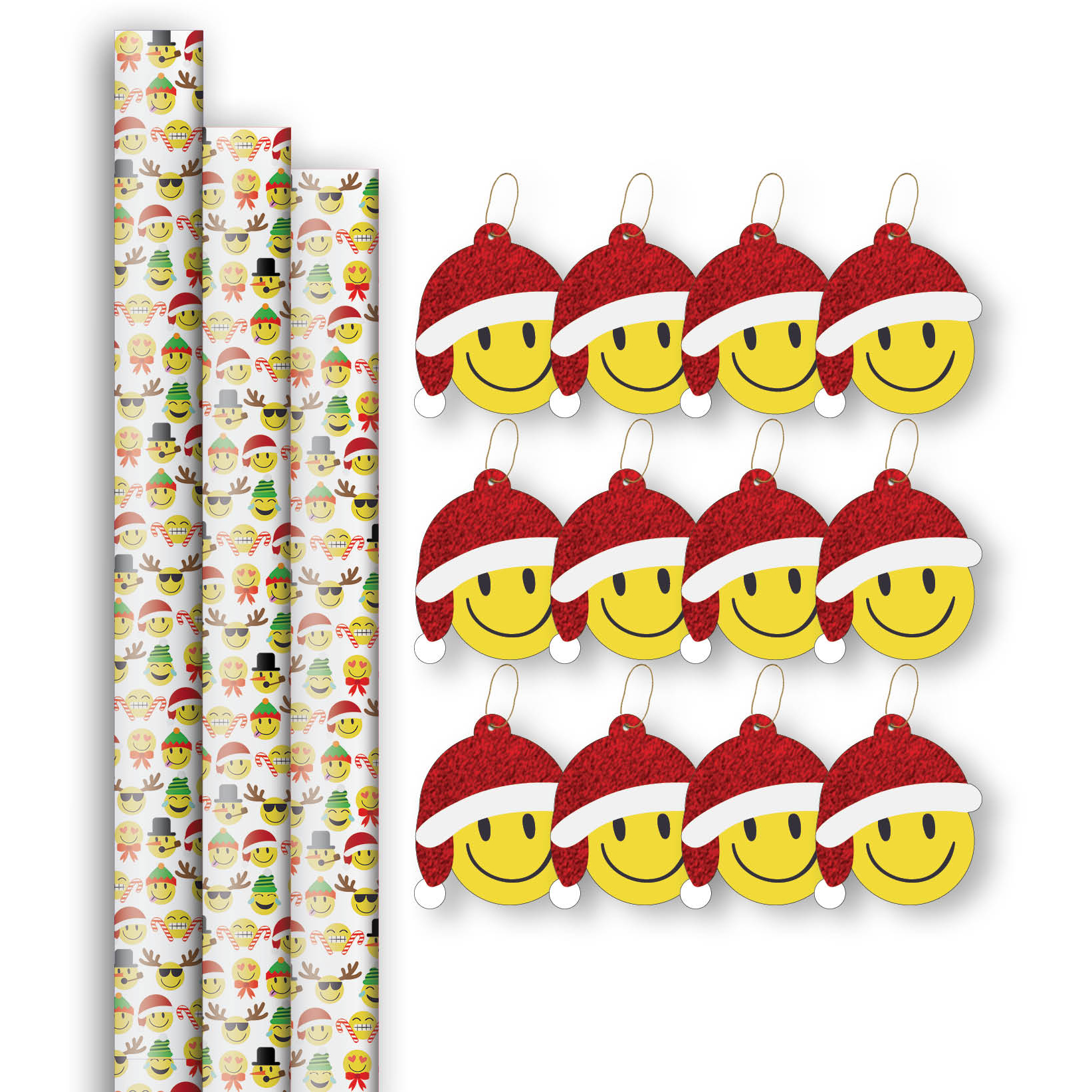Jillson & Roberts Premium Gift Wrap Roll & Gift Tag Assortment, Christmas Emoji Designs (3 Rolls & 12 Tags)