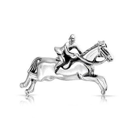 - Classic Equestrian Riding Jumping Thoroughbred Horses Brooch Pin Oxidized 925 Sterling Silver