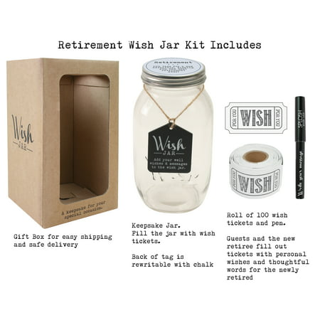 Top Shelf Retirement Wish Jar ; Personalized Gift for Men and Women ; Unique and Thoughtful Gift Ideas for Mom, Dad, Husband, Wife, Coworker, or Best Friend ; Kit Comes with 100 Tickets, Pen, and Lid (Halloween Jar Ideas)