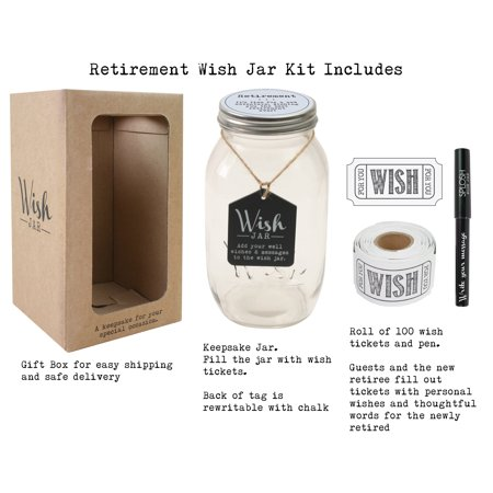 Wish Jar - Top Shelf Retirement Wish Jar ; Personalized Gift for Men and Women ; Unique and Thoughtful Gift Ideas for Mom, Dad, Husband, Wife, Coworker, or Best Friend ; Kit Comes with 100 Tickets, Pen, and Lid