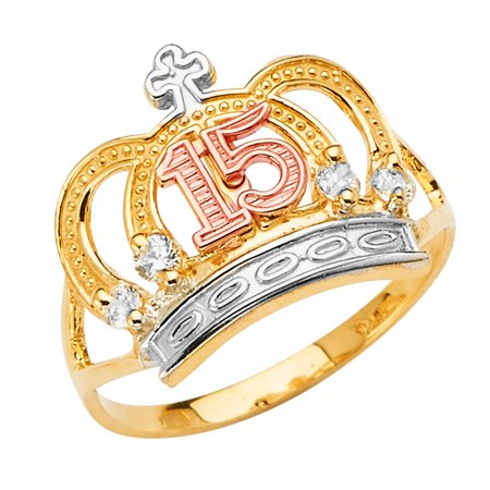 14K Solid Tri Color Gold Sweet 15 Anos 15 Years Birthday QuinceaneraPrincess Crown OR Tiara Ring