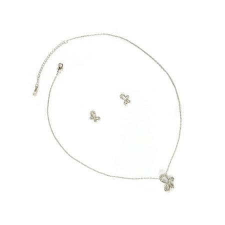 Butterfly Necklace Earrings Set - Rhodium Crystal Rhinestone Butterfly Ribbon Shape Pendant Necklace Matching Earrings Jewelry Set