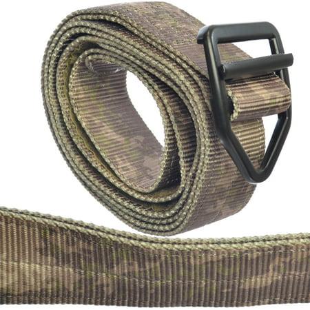 TacticShop Military Tactical Belt Nylon Webbing & Aluminum Buckle ATac Gray  Camo