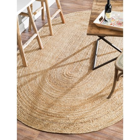 Natural Beige Jute Area Rugs 5x8 ft Oval Large Braided Carpet (60''x 96'') Living Room Office Home Décor
