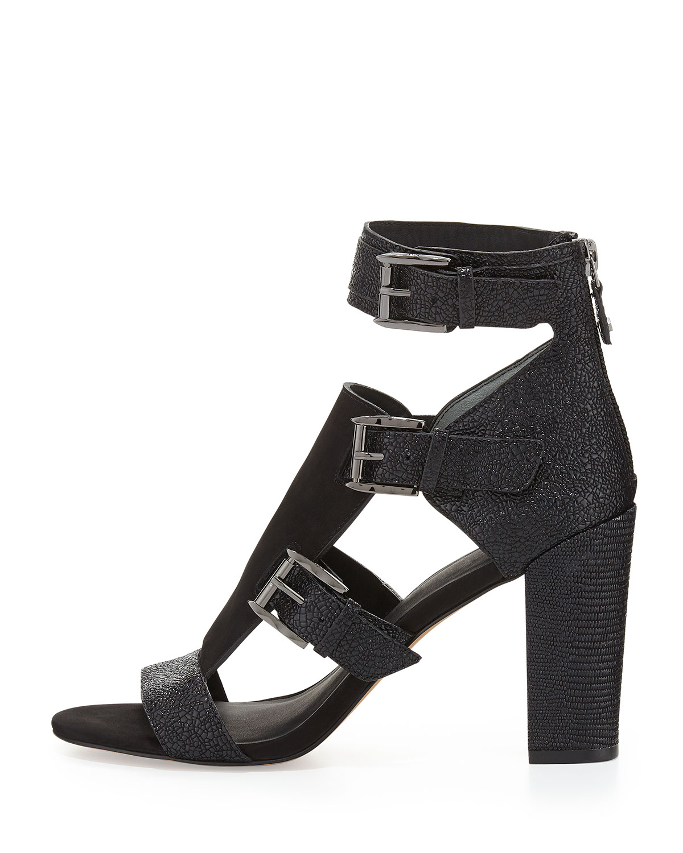 Rebecca Minkoff Women's Strappy Black Crackled Sky Sandals 10 Black Strappy c56cb0