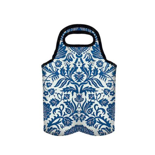 "9.5"" Blue & White ""Bird Collage"" Insulated Wine Bag"