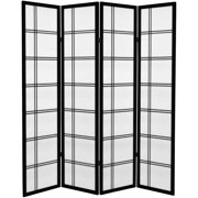 Oriental Furniture 6 Ft Tall Canvas Double Cross Room Divider, black, 4 panel