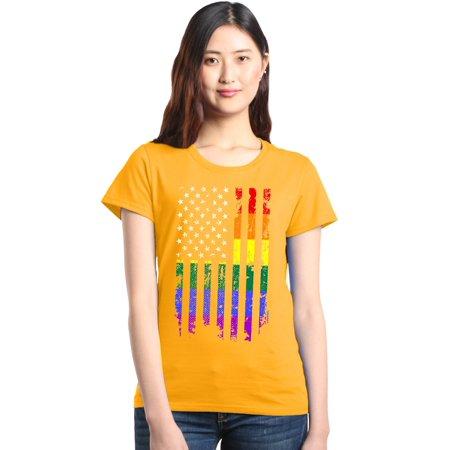 Shop4Ever Women's Distressed Rainbow Flag Gay Pride Graphic T-Shirt - Gay Pride Dress Ideas