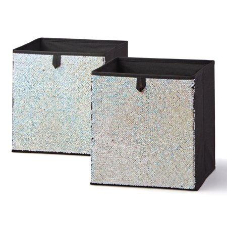 10' College Snowflake - Mainstays Reversible Sequin Collapsible Cube Storage Bins (10.5