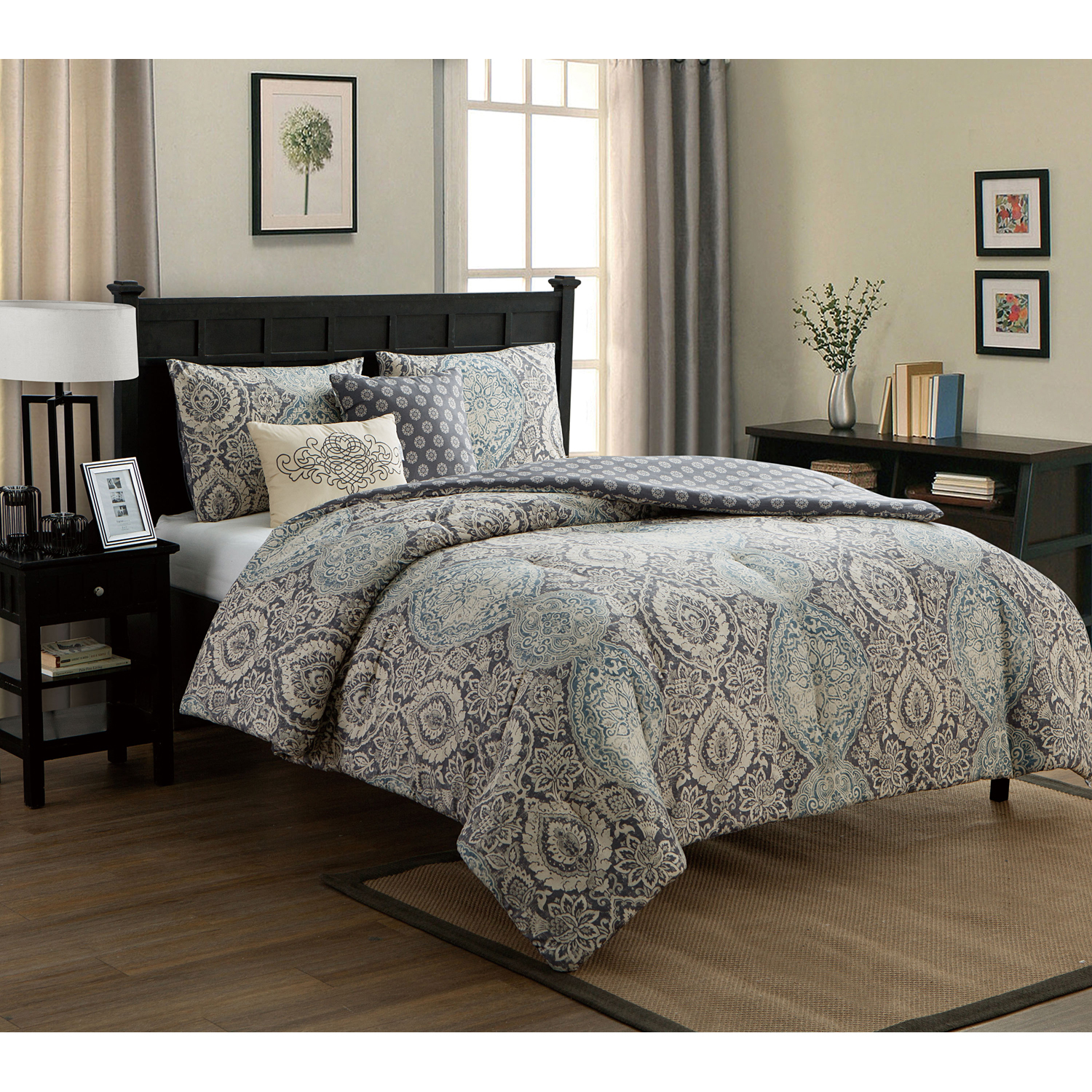 VCNY Home Blue Valencia 4/5 Piece Comforter Bedding Set, Decorative Pillows Included