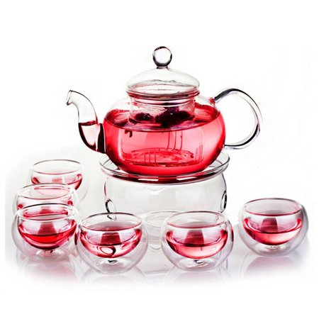 Glass Filtering Tea Maker Teapot with a Warmer and 6 Tea Cups (25*15*11cm, red1)