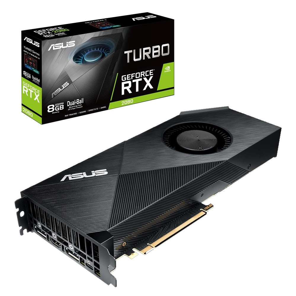 ASUS Turbo RTX 2080 8GB GDDR6 VR Ready Gaming Graphics Card Graphic Cards TURBO-RTX2080-8G by ASUS