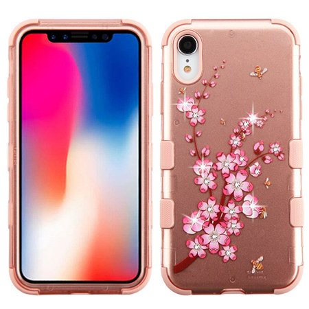 Apple iPhone XR (6.1 inch) (2018 Model) Phone Case Tuff Hybrid Shockproof Impact Rubber Dual Layer Hard Soft Protective Hard Case Cover Spring Flower Rose Gold Phone Case for Apple iPhone Xr (6.1
