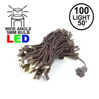 Novelty Lights 100 Light Warm White LED Christmas Mini String Light Set, UL Listed Indoor/Outdoor, Brown Wire, 50 Feet