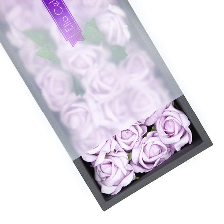 Ella Celebration 25 Artificial Flowers, Real Touch Foam Roses for Crafts, Weddings, Decorations, DIY for Bridal Bouquets Party Centerpieces, Home Display, Office Decor (Lavender) Ftd Celebration Bouquet