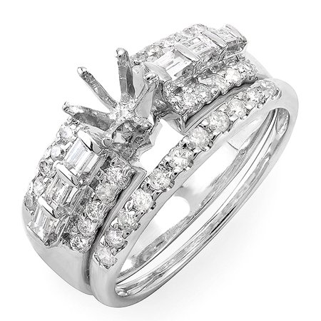 Dazzlingrock Collection 0.75 Carat (Ctw) 14k Round & Baguette Diamond Ladies Bridal Semi Mount Ring Set (No Center Stone), White Gold, Size 5 Baguette Diamond Ring Setting Mounting