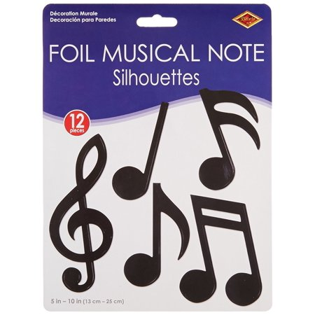 Musical Notes Decorations (55881 12-Pack Foil Musical Note Silhouettes Party Decorations, 5-Inch-10-Inch, This item is a great value! By)