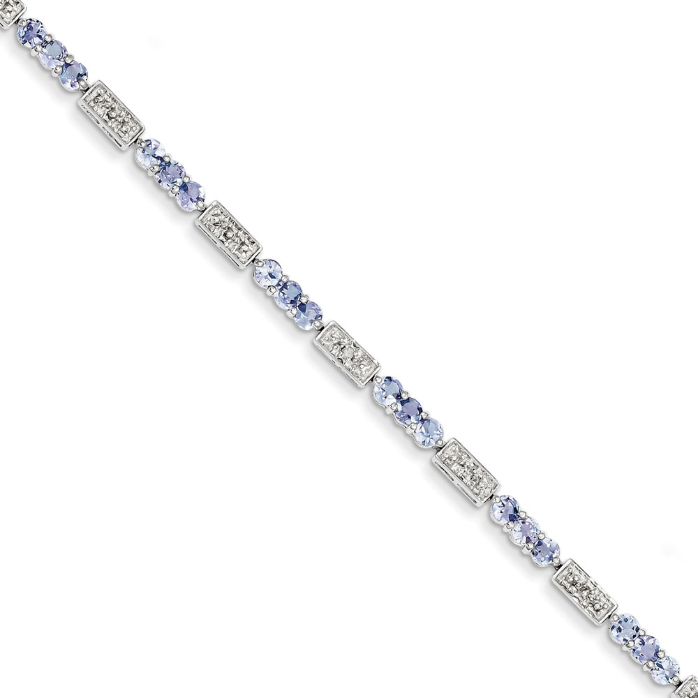 Sterling Silver Tanzanite and Diamond Bracelet .02 dwt 2.94 cwt by