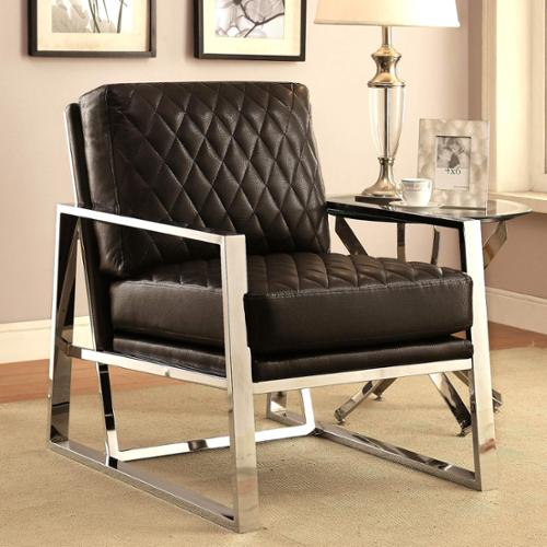 A Line Furniture Eclipse Mid Century Modern Black Chrome Bold Design Accent