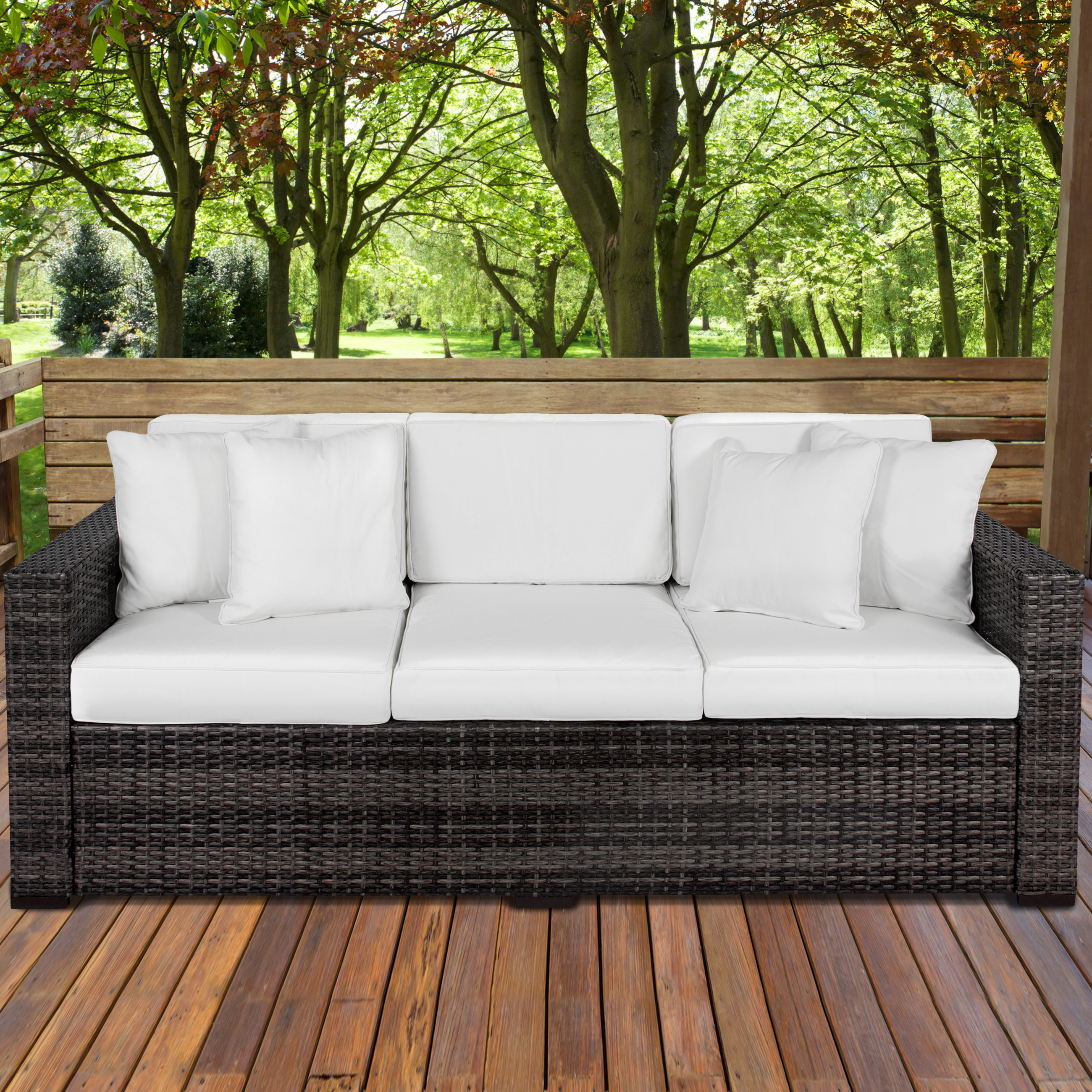 BCP 3-Seat Outdoor Wicker Patio Furniture Sofa Couch w  Steel Frame by Best Choice Products