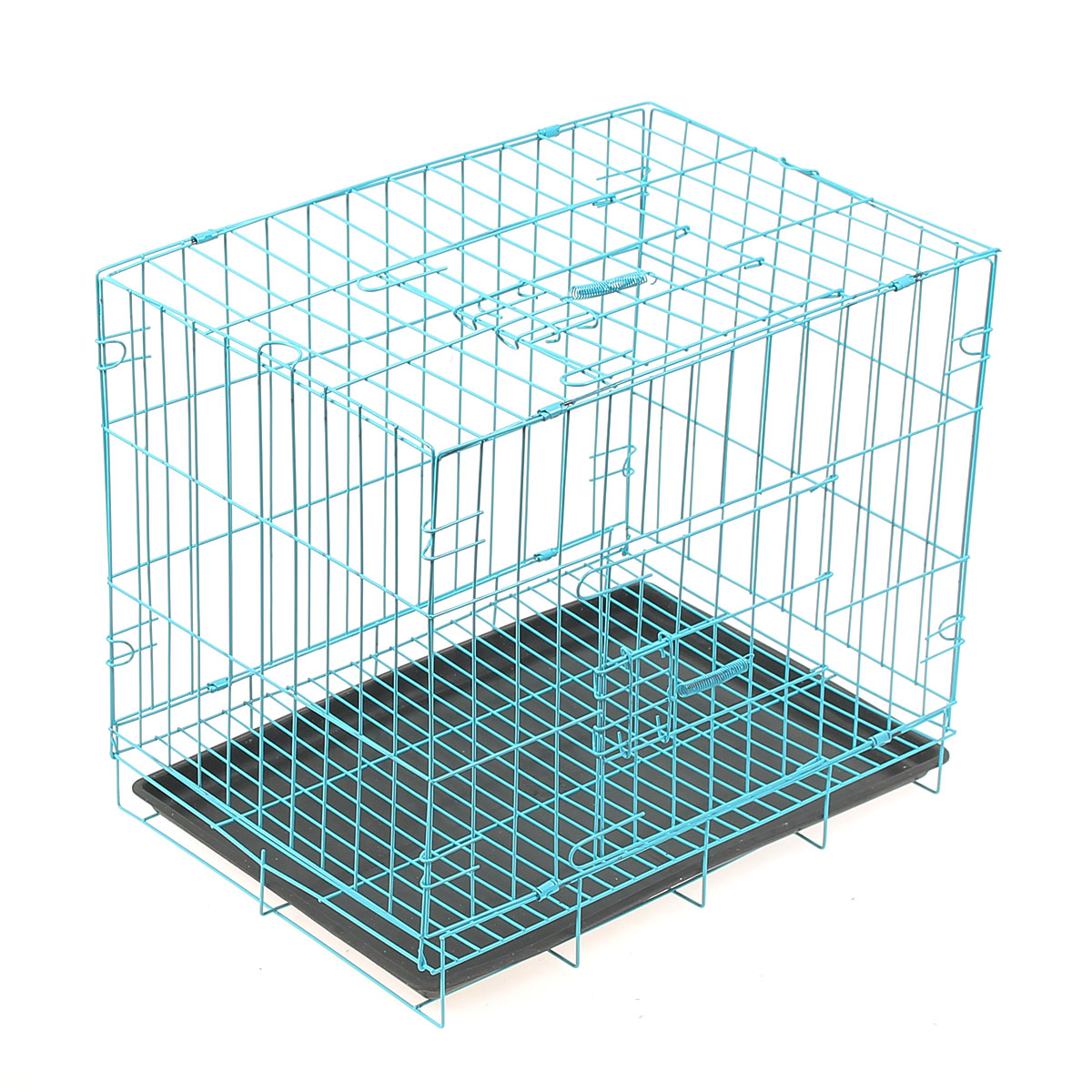 "28""x20""x24"" Foldable Pet Crate Dog Cat Cage Metal Carrier Animal Kennel Playpen With Black Tray Blue"