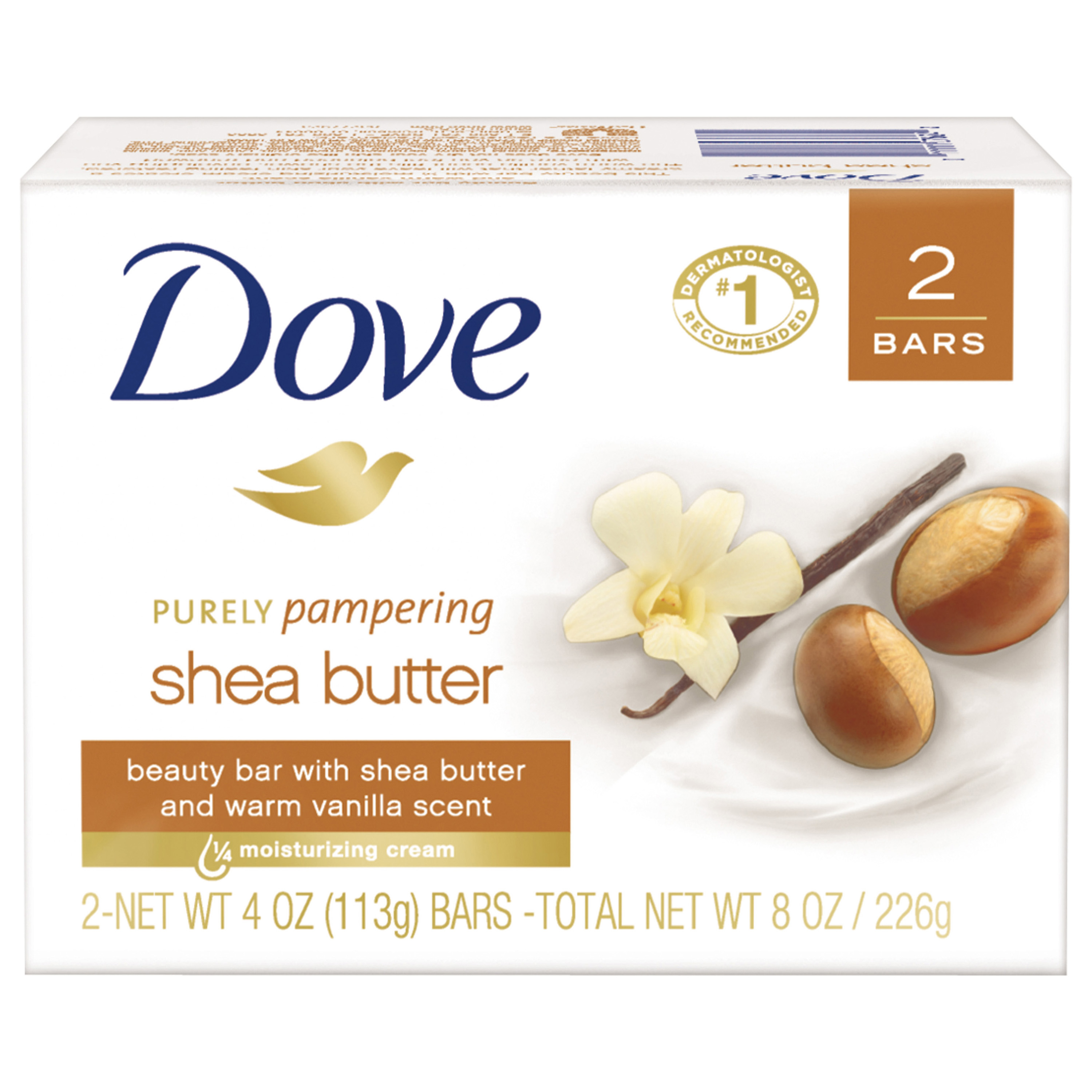 Dove Shea Butter Beauty Bar, 4 oz, 2 Bar