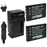 Wasabi Power Battery (2_Pack) and Charger for HP NP_60, A...