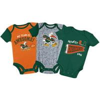 Newborn & Infant Russell Athletic Green/Orange/Gray Miami Hurricanes 3-Pack Team Bodysuit Set