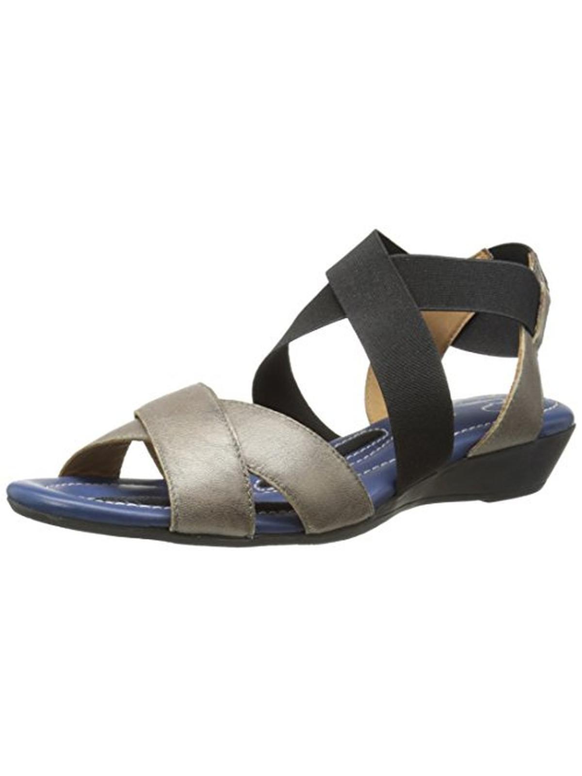 J. Renee Womens Careen Leather Wedge Sandals by J. Renee