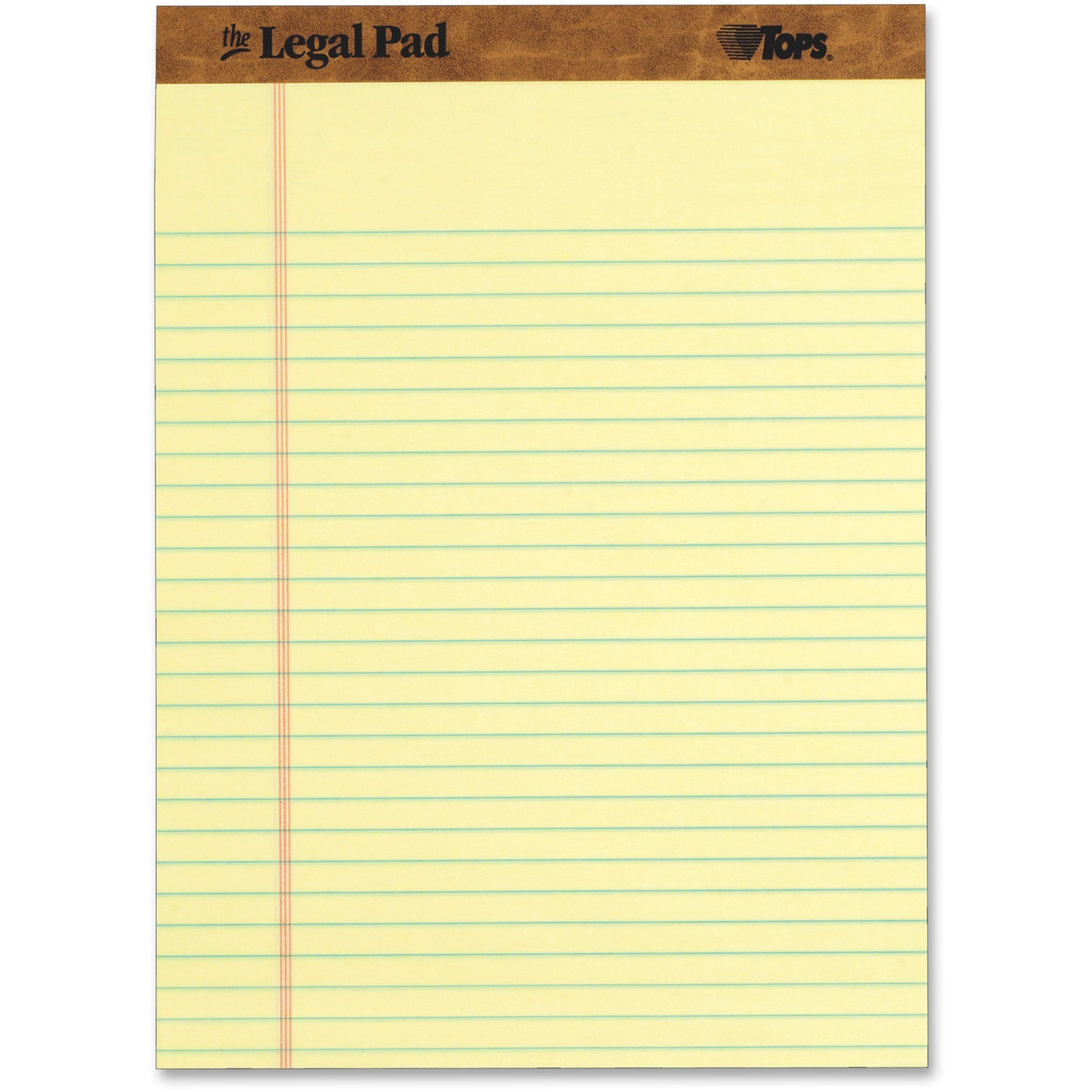 TOPS The Legal Pad Writing Pads, Legal Rule, 50 Sheets, Canary, (7532)
