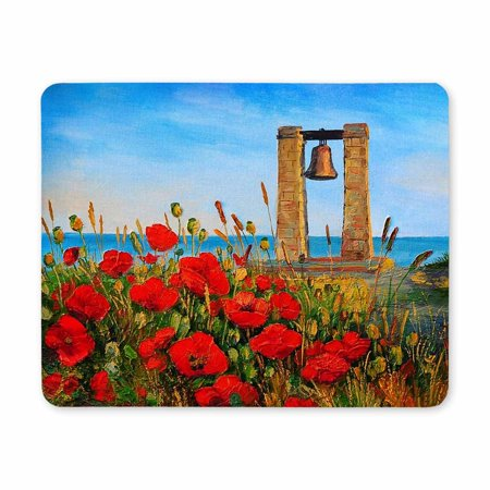 POP Oil Painting Poppies Near The Sea Oblong Shaped Gaming Mouse Pad 9x10 inch - image 2 of 2
