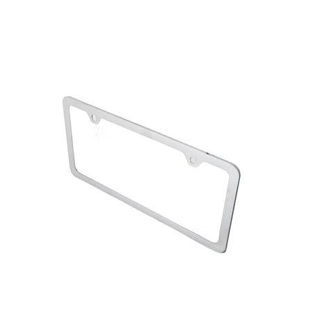 Plain Chrome Metal License Plate Cover Frame w/Screw Caps Metal Plate Frame