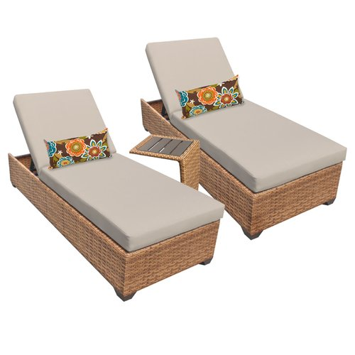 Brayden Studio Asellus Chaise Lounge Set with Cushions and Table