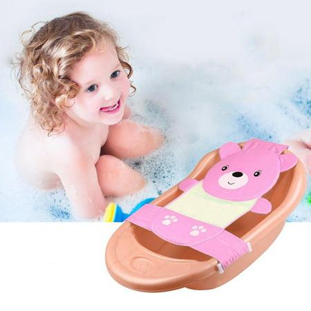 Yosoo Baby Bath Seat Support Adjustable Bathtub Bathing Shower Net Newborn Bathing Cradle Rings for Tub Pink Baby Safety Baby