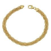 Fremada  14k Yellow Gold Fancy Braided Curb Link Bracelet (7.5 inches)