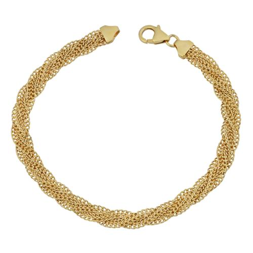 Fremada  14k Yellow Gold Fancy Braided Curb Link Bracelet (7.5 inches)