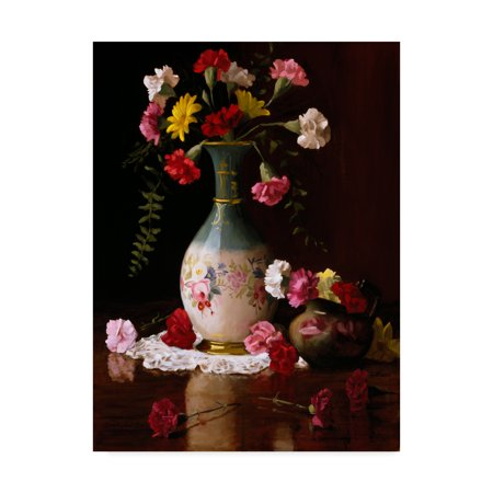 Trademark Fine Art 'Carnations In A Victorian Vase' Canvas Art by Christopher Pierce