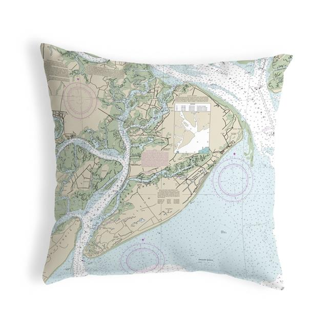 Betsy Drake NC11516 18 x 18 in. Hilton Head, SC Nautical Map Noncorded Indoor & Outdoor Pillow - image 1 of 1