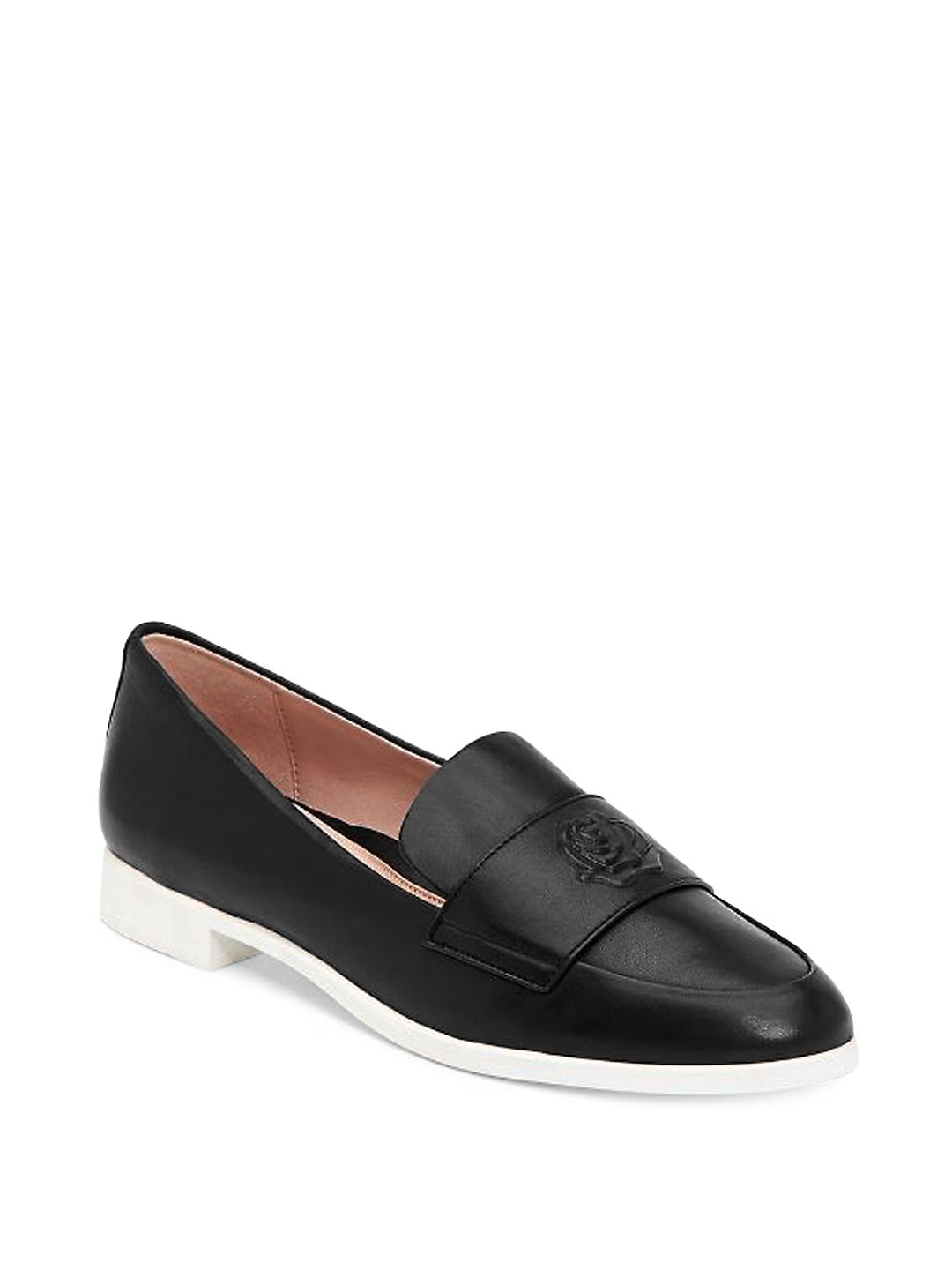 Blossom Rose-Embossed Leather Loafers