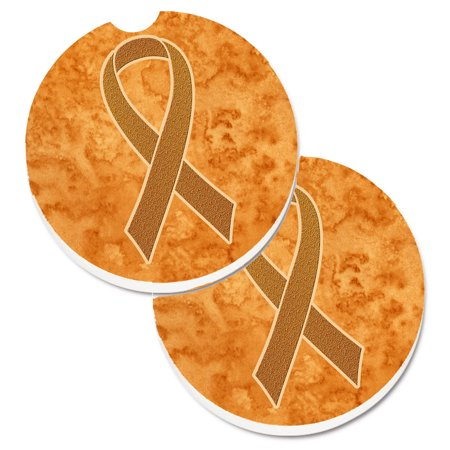 Orange Ribbon for Leukemia Awareness Set of 2 Cup Holder Car Coasters AN1204CARC